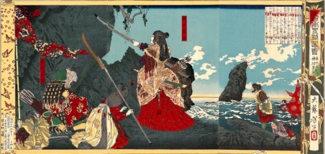 La Emperatriz consorte Jingu llega a Corea. Pintura de 1880.